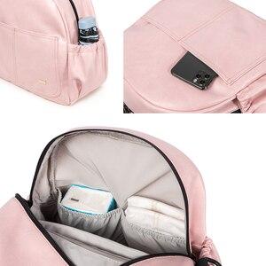 Image 5 - חדש אופנה חיתולים תיק לאמא ורוד גדול קיבולת מוצק תינוק תיק תרמיל עם 2 רצועות אופנתי יולדות חיתול שינוי תיק