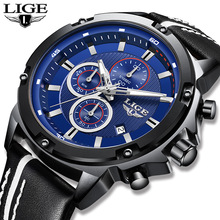 LIGE Blue Quartz Clock Male Casual Leather LIGE10014