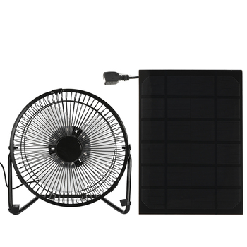 Hot Black Solar Panel Powered/USB Iron Fan Outdoor Traveling Fishing Home Office Camping  Car Cooling Fan 4/6/8Inch 3W/5W