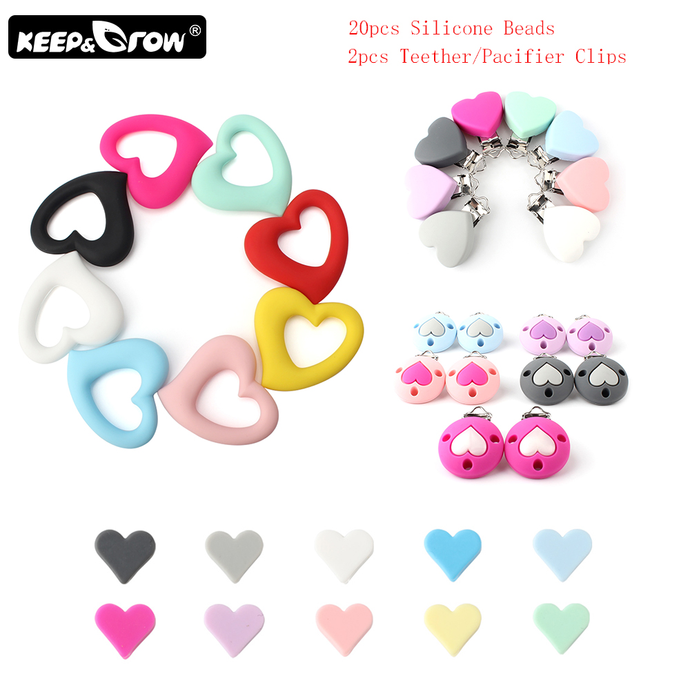 Keep&Grow Heart Shaped Silicone Beads Food Grade Baby Teethers Metal Pacifier Clips Silicone Teething Necklace Nursing Toy