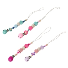 Baby Pacifier Chain Clip Holder Silicone Beads Wood Soother Feeding Teether Chew wood pacifier clip metal dummy clip nature football pattern pacifier chain soother holder baby feeding clips attache sucette