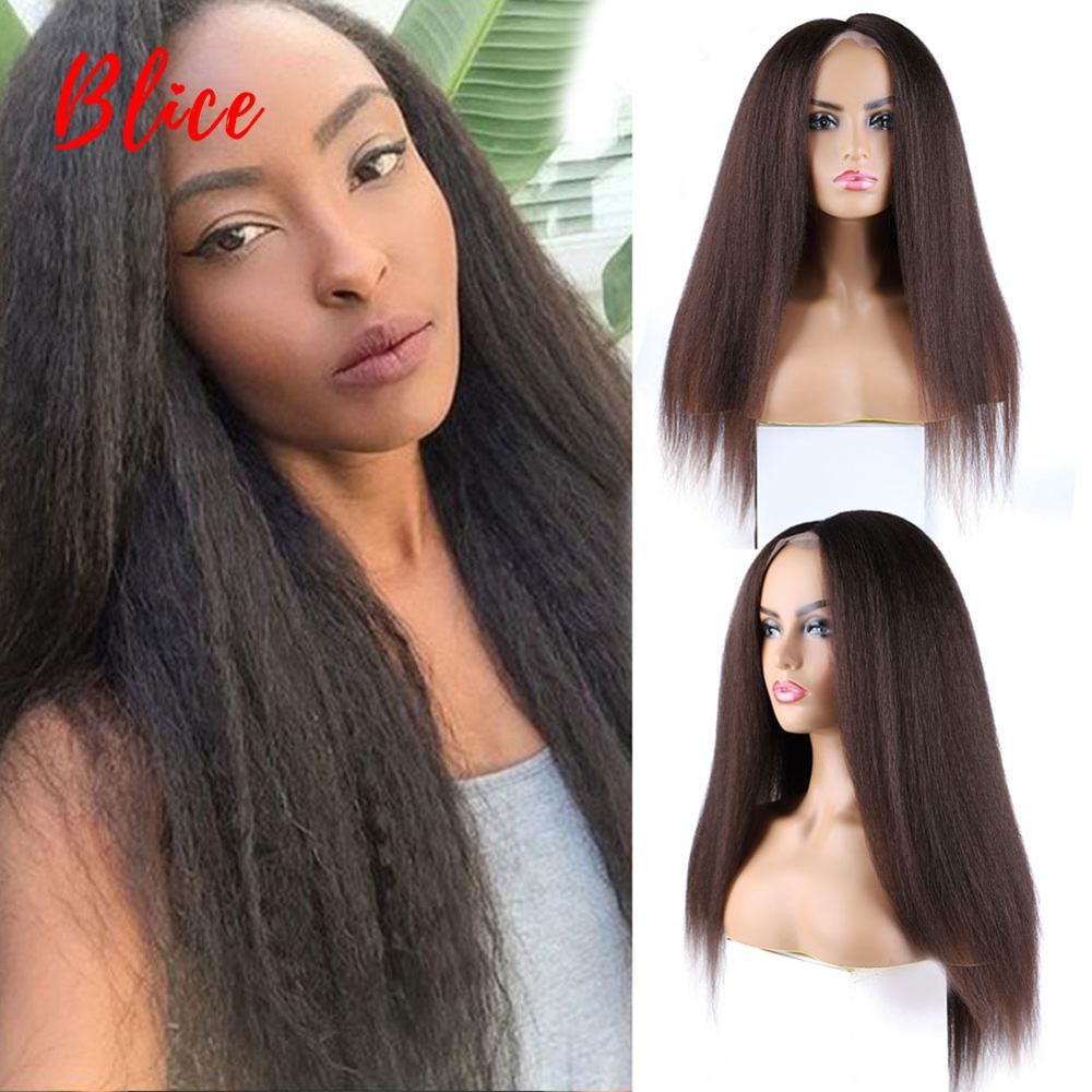 Blice Synthetic Hair Extensions 4*4 Closure Wig Kinky Straight Natural Black Color 100% Kanekalon Heat Resistant Wigs For Daily
