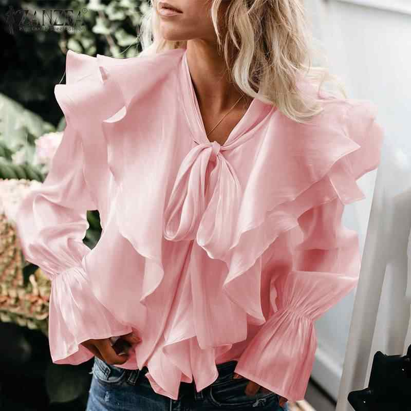 Zanzea Vrouwen Lange Flare Mouw Ruches Blouse Casual Solid Ol Shirt Elegant Lace Up Flounce Blusa Femininas Party Top Mujer 7