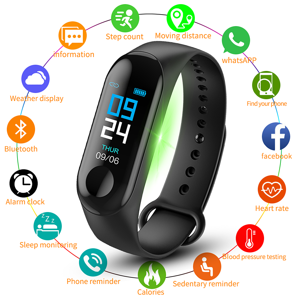 M3 Smart Wristband Men Color Screen Smart Band IP67 Waterproof Blood Pressure Heart Rate Sport Activity Fitness Smart Bracelet