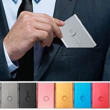 Tarjetero deslizante de acero inoxidable ultrafino para hombre y mujer, elegante estuche de Metal para tarjetas de identificación, caja para tarjeta bancaria