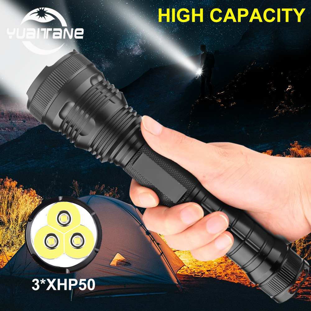 Led Flashlight  3*xhp50 Most Powerful Flashlight 26650 Usb Torch Xhp70.2 Lantern 18650 Hunting Lamp Hand Light For Hiking