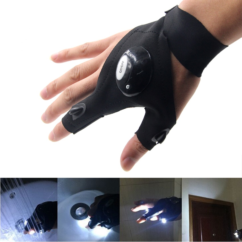 2018 New Fishing Magic Strap Fingerless Glove LED Flashlight Torch Cover Camping Hiking Lights Multipurpose Right Hand