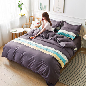 Fashion Simple Style Duvet Cover Fitted Sheet Pillowcase Set Single Full Queen Size