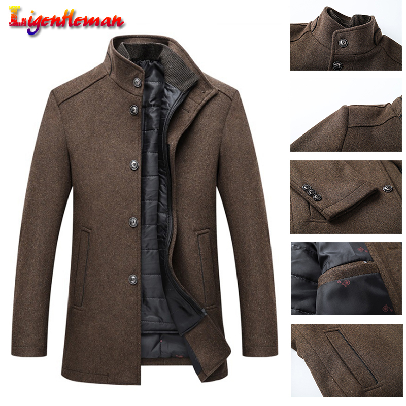 Winter Men New With Adjustable Vest Thick Wool Topcoat Coat Mens Single Breasted Coats And Jackets 4 Color Fashion Coats M-3XL