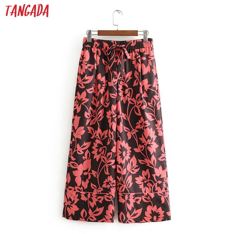 Tangada Fashion Women Tree Print Chiffon Pants Trousers Vintage Style Pockets Strethy Waist Lady Pants Pantalon 3H389