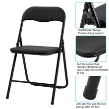 [US-W] 4PCS Camel Chair With Foldable Leather Curved Backrests Black