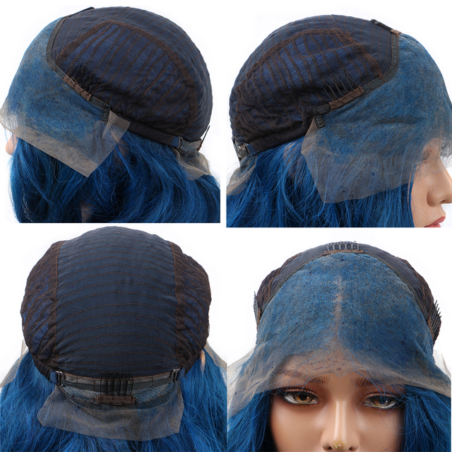 #Blue Color Lace Front Human Hair Wigs Brazilian Body Wave Wigs 13x4 Lace Front Wig Pre Plucked With Baby Hair Remy 150% Density 1