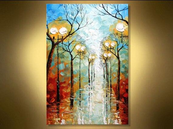 Couteau de Palette d'art moderne | Texturé, peinture de paysage à l'huile sur toile, Art mural pour salons, idées de peinture murale Discount