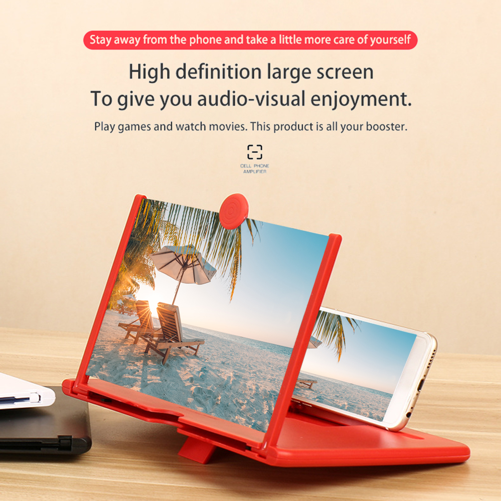 Pull Typer Cell Phone Amplifier 3D Effect High Definition Large Screen with Desk Holder Magnifying Folding for Movie Game