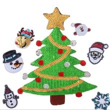 1PCS Cartoon Christmas Sequin Patch DIY Clothing Sticker Patches Embroidery Applique Accessories Halloween Christmas