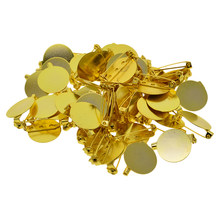 50 Pieces Gold Brooch Pin Badge Blank Spaces Configuration Cabochon Base Tray DIY(China)