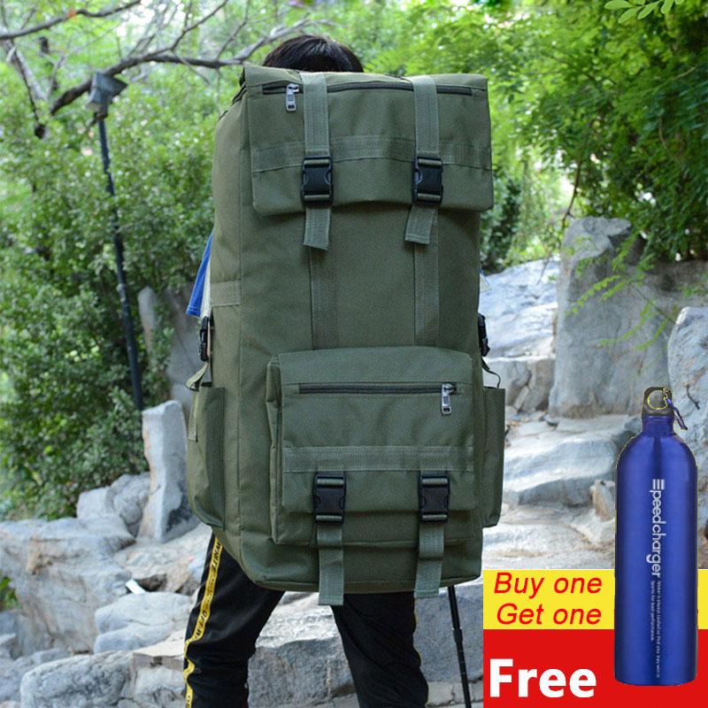110L Large Men Hiking Rucksack Camping Backpack Army Bag Outdoor Climbing Trekking Mountaineering Mochila Blaso Sport XA860WA