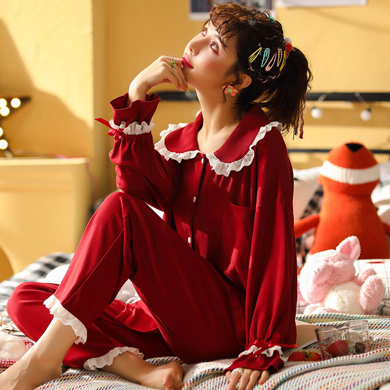 SP&CITY Vintage Turn-down Collar Red Pajamas Women Lace Ruffles Sleeve Sexy Home Wear Suit Soft Comfortable Princess Sleepwear