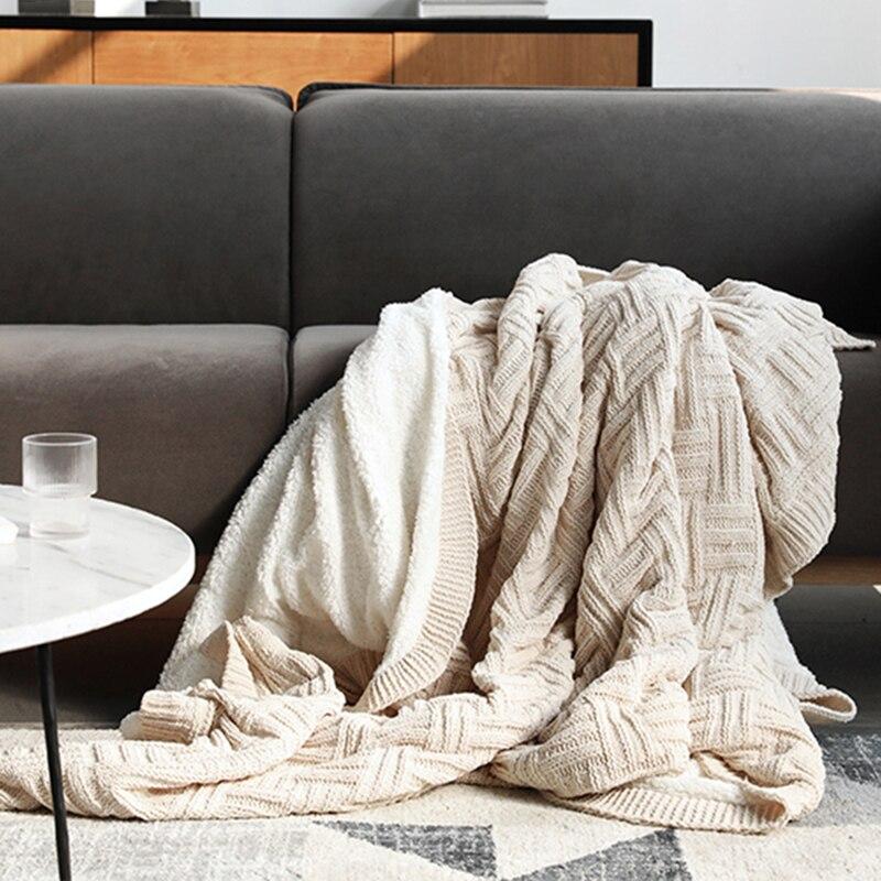 REGINA Fluffy Warm Autumn Sherpa Blanket Elegant Cozy Knitted Chenille Bed Double Quilt Blanket Decorative Sofa Plaid Blankets