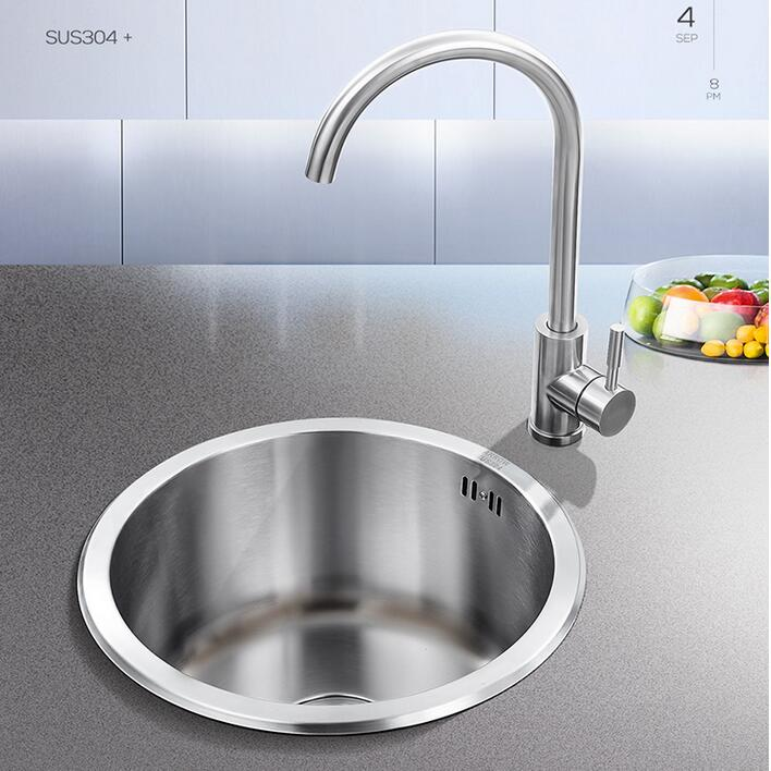 Kitchen 304 Stainless Steel Brushed Round Sink 40x40cm Under Counter Basin Corner Sink Single Bowl Small Apartment Mini Sink Kitchen Sinks Aliexpress