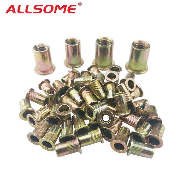 ALLSOME 300pcs M3 M4 M5 M6 M8 M10 Head Rivet Nuts Set Nuts Insert Reveting Multi Size Rivet Nuts Collocation with BOX HT2599