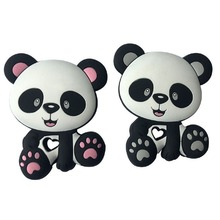 Panda Silicone Baby Teethers BPA Free Cute Infant DIY Ring Teether Toddler Silic