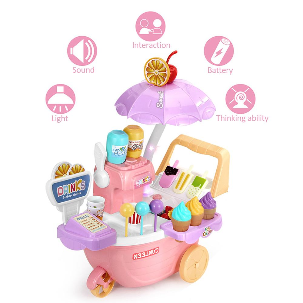 35PCS Ice Cream Trolley Toy With Lights Music Girl Candy Cart Toy Supermarket Shopping Pretend Play Kitchen Toy Educational Toys