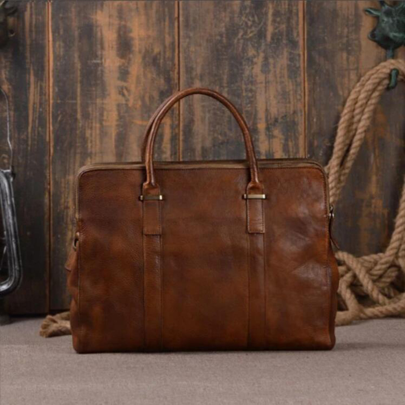ROCKCOW Vegetable Tanned Leather Briefcase Men Business Tote Bag Shoulder Messenger Laptop Bags 9043