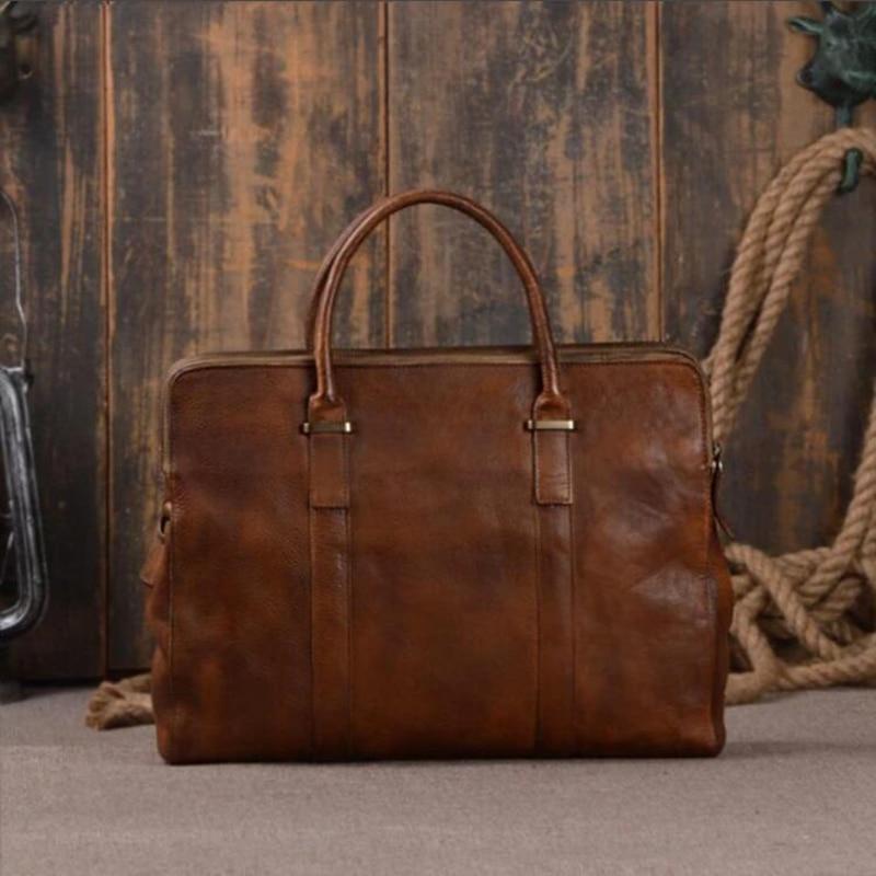 ROCKCOW Vegetable Tanned Leather Briefcase Men Business Tote Bag Shoulder Messenger Laptop Bags 9043