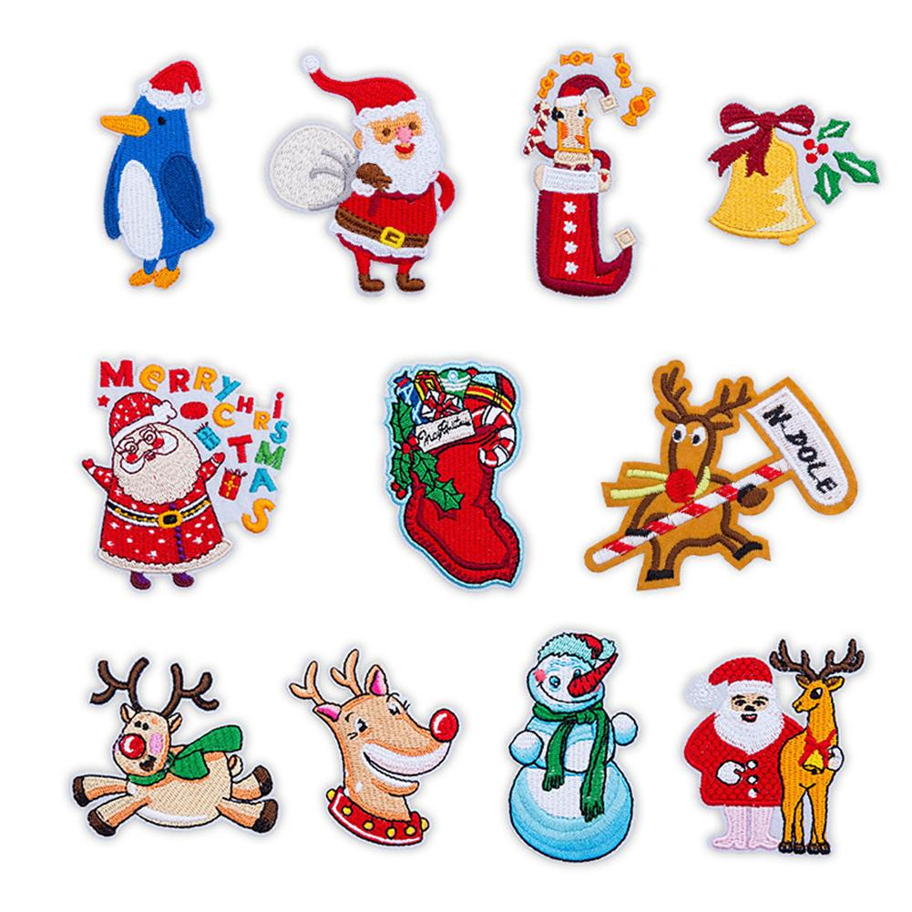 11Pc Christmas Clothing Patch Set Washable Heat Transfer Iron-on Patches Santa Snowman Embroidered Patches DIY Apparel Accessory