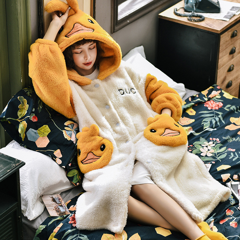 2020 New Coral Velvet Bathrobe Women Cartoon Cute Warm Hooded Robe Ladies Casual Duck Flannel Kimono Bath Robes Dressing Gowns