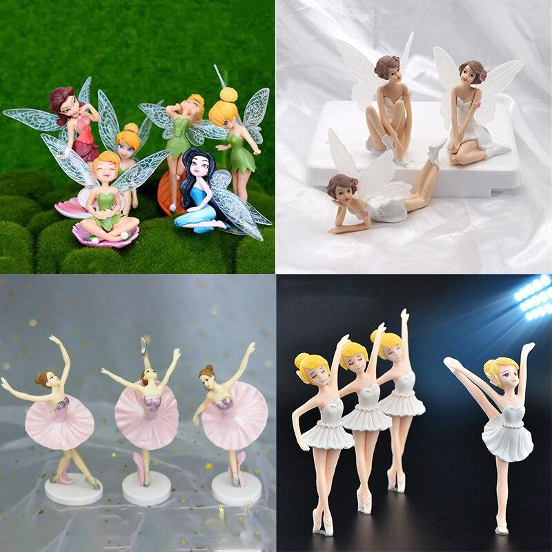6 unids/set de miniaturas de jardín DIY, decoración de decoración para manualidades, adornos para el hogar, regalos de dibujos animados, escritorio, Decoración de Pastel de coche