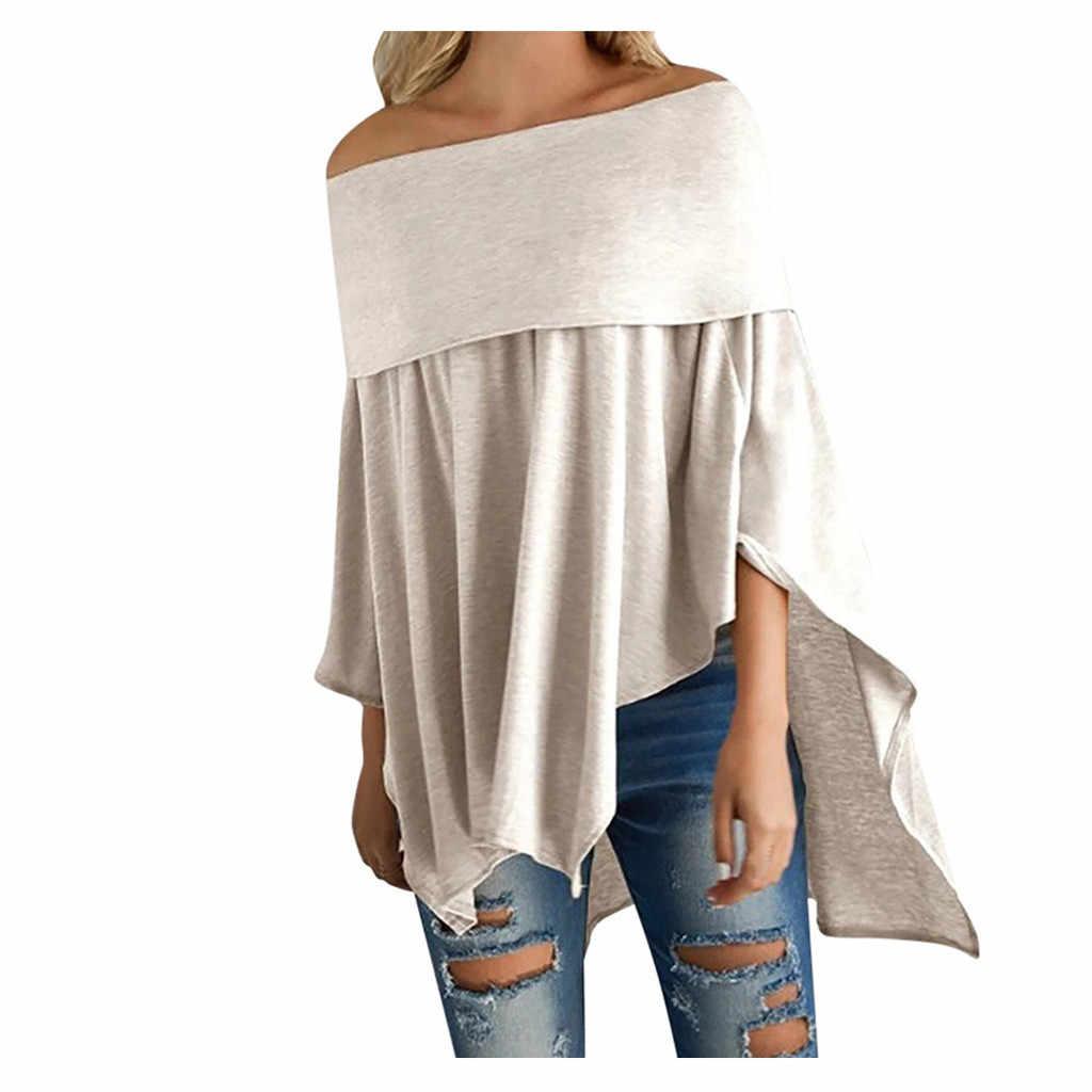 2019 de alta qualidade mulheres causal ombro frio sólido meados manga irregular tops blusa moletom apoio atacado dropshipping