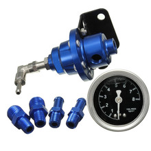 Universal Adjustable Fuel Oil Pressure Regulator Valve with Gauge Blue Refitting Supercharger for Automobile Aluminium