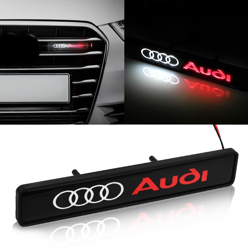 1pcs Car Front Hood Grille Emblem Badge LED Decorative Lights For Audi A3 A4 A5 A6 A7 A8 Q3 Q4 Q5 Q6 Q7 B8 B6 Car Accessories
