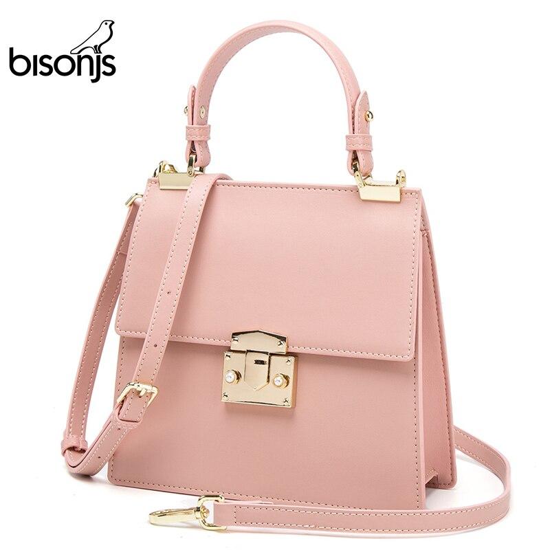 BISONJS Leather Women Handbag Luxury Female Shoulder Bags Large IPad Mini Crossbody Bags B1755