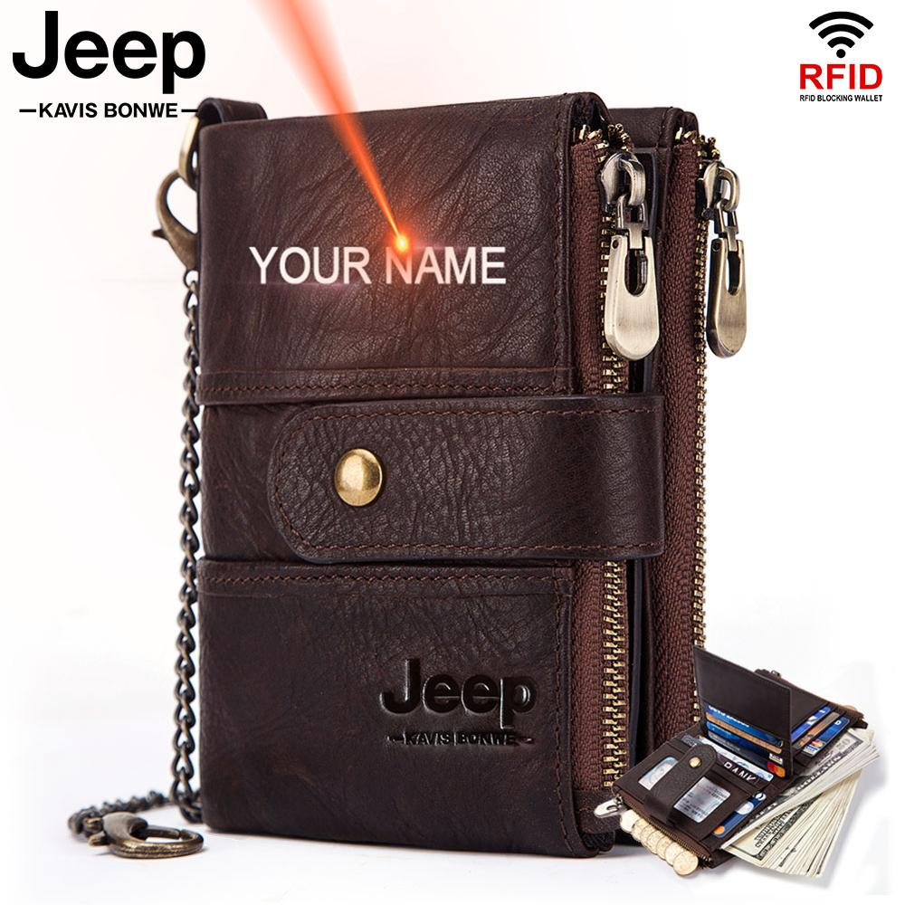 Free Engraving Rfid Cowhide Genuine Leather Wallet Men Crazy Horse Wallets Short Coin Purse Male Money Bag High Quality Walet 1