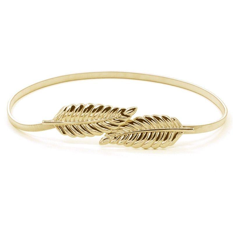 2Pcs/Set Women Girl Golden Silver Elastic Skinny Waist Belt Leaves Metallic Stretchy Evening Dress Wedding Chain Cummerbunds