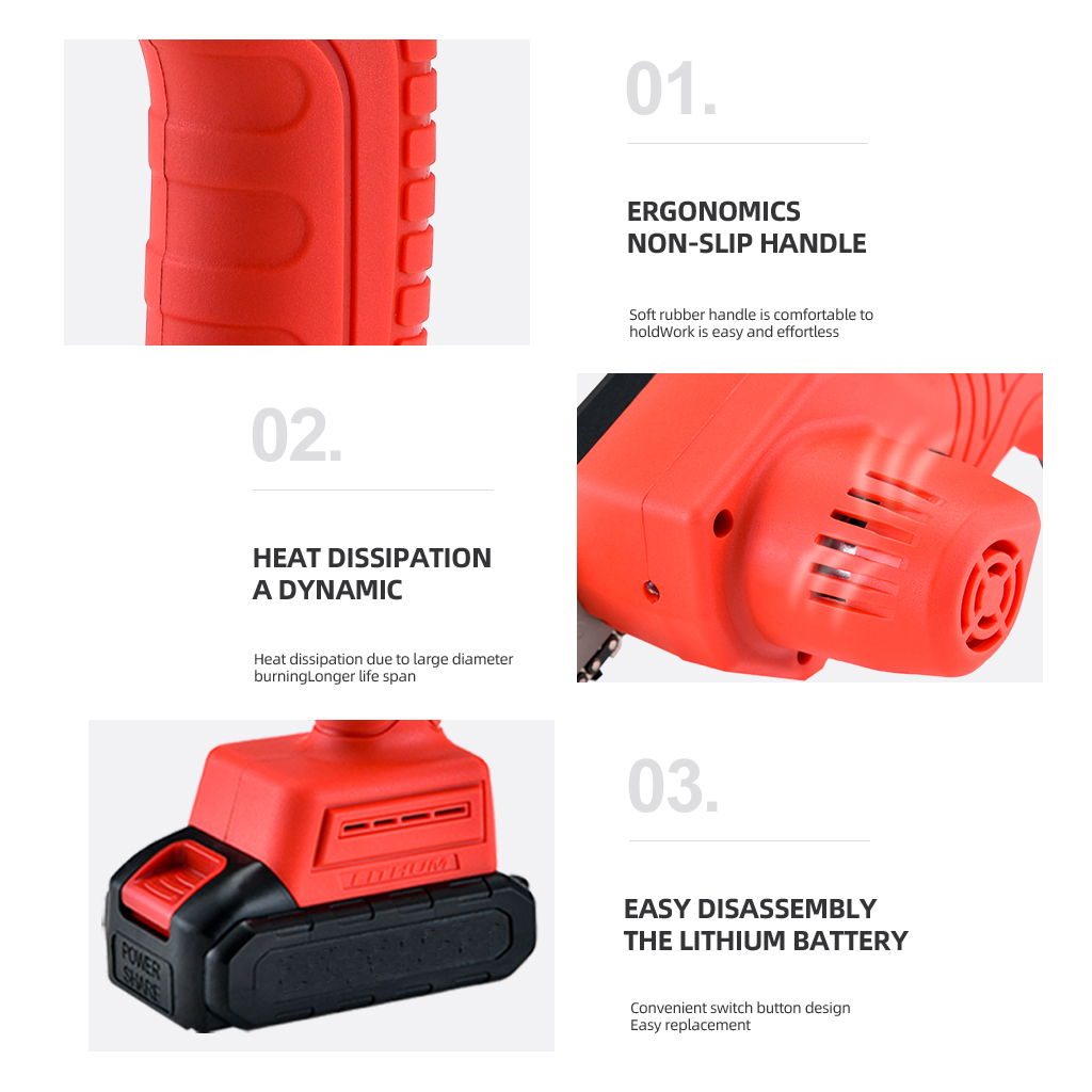 Tools : COOFIX Mini Portable Rechargable Electric Chainsaw 24V Lithium Battery One-handed Chainsaw For Garden Pruning And Woodwoking