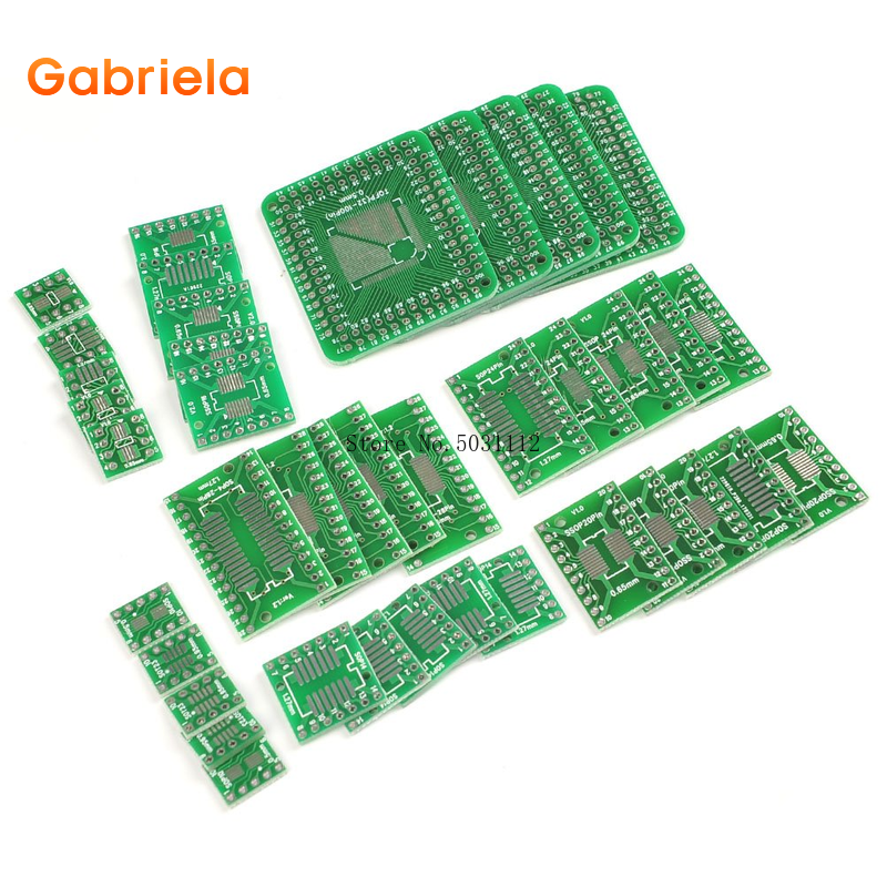 8Types 40pcs PCB Proto Boards SMD To DIP Adapter Plate Converter TQFP (32 44 48 64 84 100) SOP SSOP TSSOP 8 10 14 16 20 23 24 28