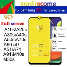 50Pcs\lot 9D Full Curved Tempered Glass For Samsung Galaxy A10S A20S A30S A40S A50S A70S A51 A71 A91