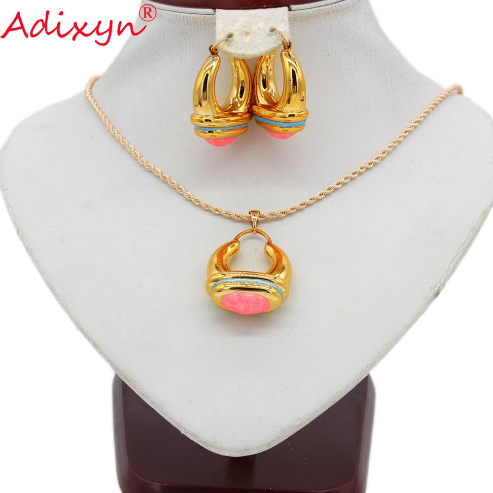 Adixyn Party Jewelry Necklace Hollow-Earrings Gifts Ethnic Irregular Spiral Hit-Color