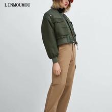 Winter warm thick ladies coat solid color long-sleeved zipper coat double pocket flight jacket style cool short cotton suit