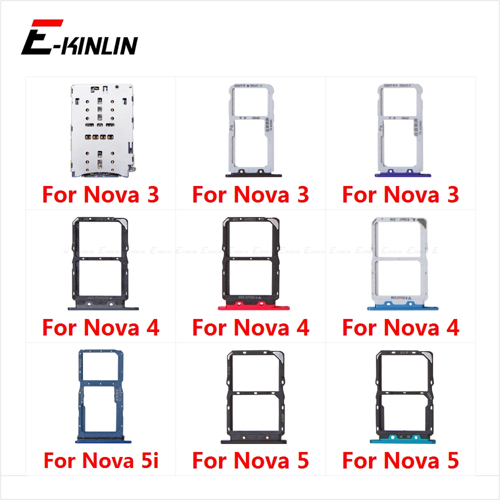 Sim Card Socket Slot Tray Reader Holder Connector Micro SD Adapter Container For HuaWei Nova 5i 5 4 3 Replacement Parts