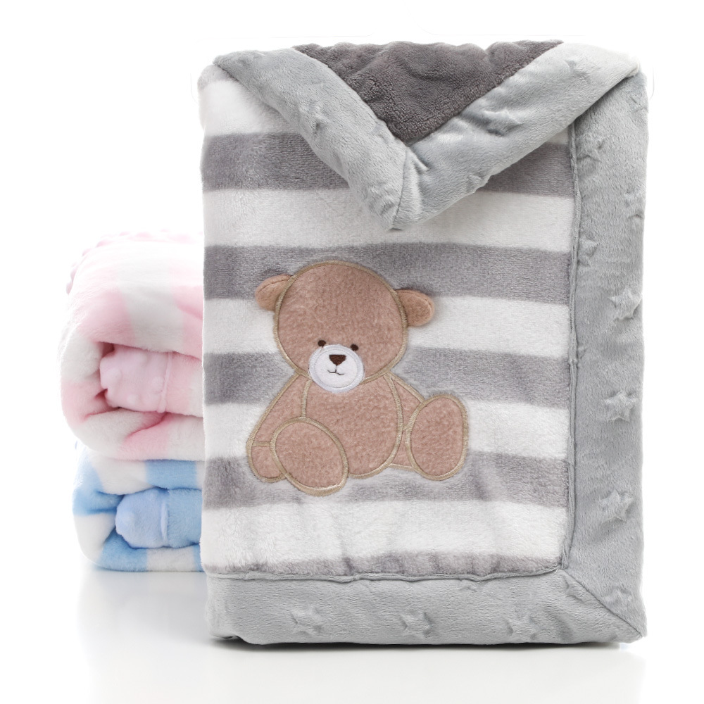 Double Layers Thick Baby Flannel Blanket 75 x 100cm Soft and Warm Fleece for Infant or Newborn Pink /…