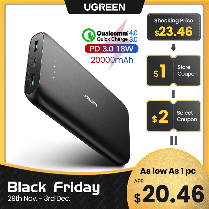Ugreen Power Bank 20000mAh Fast Phone Charger Quic