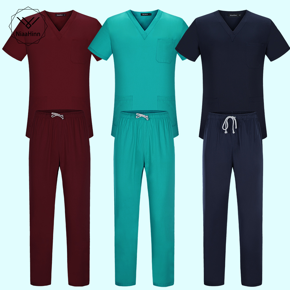 Elasticity Waist Body Nurse Uniform For Women Men Medical Suit Scrubs Suit Dental Hospital Set Work Wear Nursing Scrubs 8 Colors