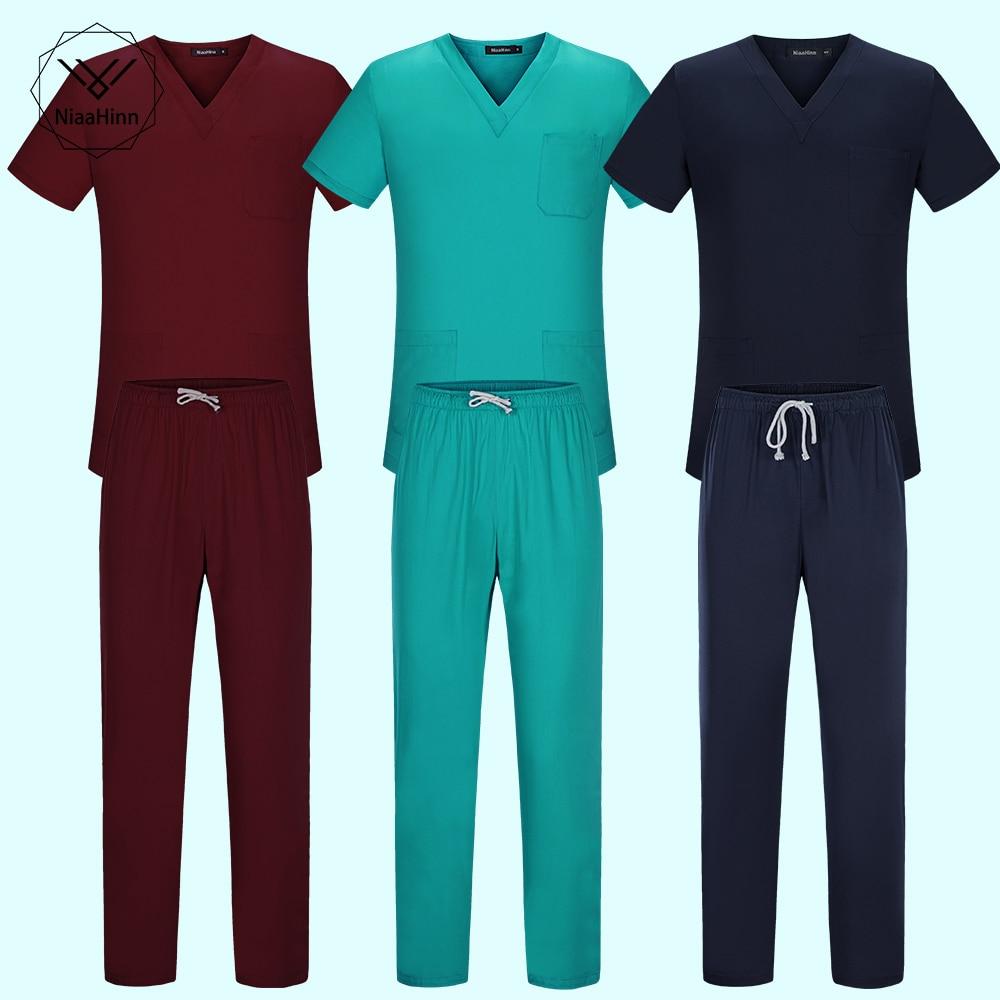 Elasticity Waist Body Nurse Uniform For Women Men Medical Suit Scrubs Suit Dental Hospital Set Work Wear Nursing Scrubs 8 Colors