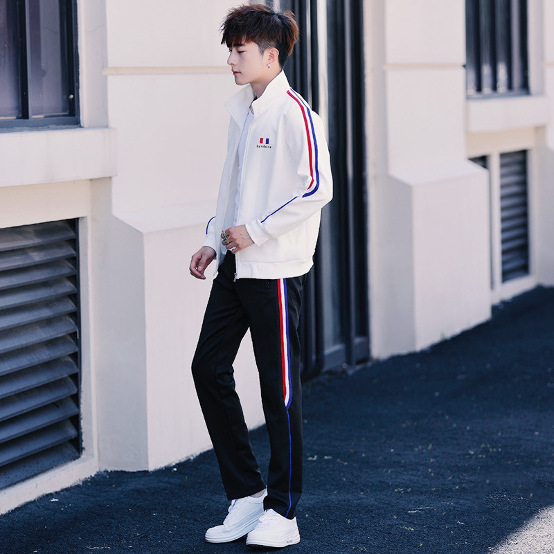 Hot Selling 2019 Spring And Autumn Sports Set MEN'S Casual Suit Men's Slim Fit Korean-style Coat Sports Clothing Students