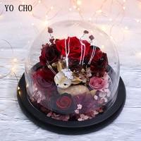 YO CHO Real Rose Everlasting Preserved Rose Flower Deer Christmas Valentine Gift Glass Dome Flower Fairy Immortal Flower Gift